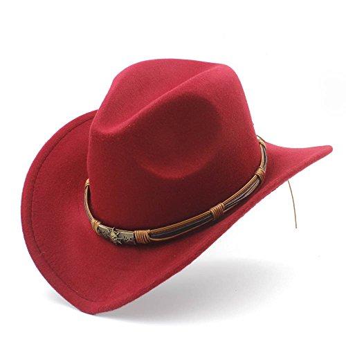 Wkae vaquero de con fieltro Fashion 58CM bola de 56 de caqui diseño punk Rojo mujer de Vino con Sombrero r7rRIqP