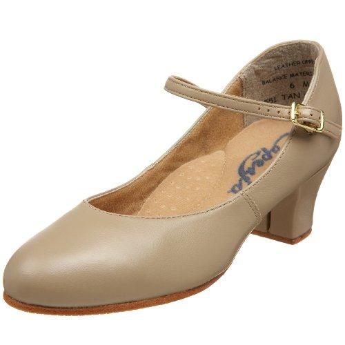 Capezio Women's Leather Jr. Footlight Character Shoe (Style 551),Tan,9 W US