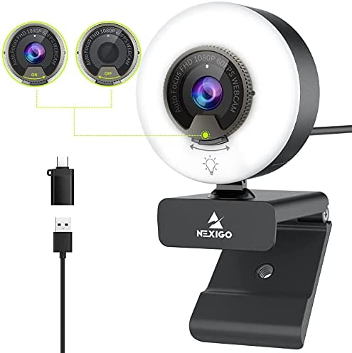 60FPS 1080P Webcam with Ring Light, Fast AutoFocus, Built-in Privacy Cover, 2021 NexiGo N960E USB FHD Web Computer Camera, Dual Stereo Microphone, for Zoom Meeting Skype Teams