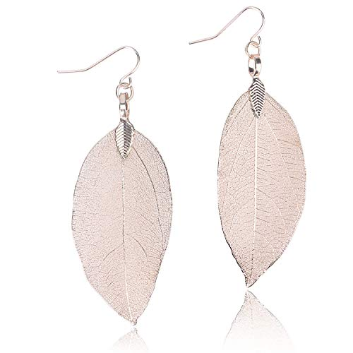 BOUTIQUELOVIN Real Fall Leaf Dangling Earrings for Women Girls Gift Jewelry in Rose Gold