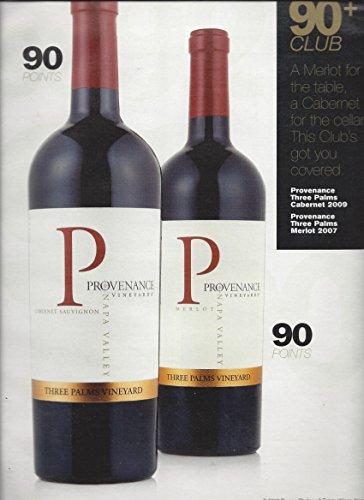 PRINT AD For Provenance Vineyard Wine 90+ Club Rating Scene