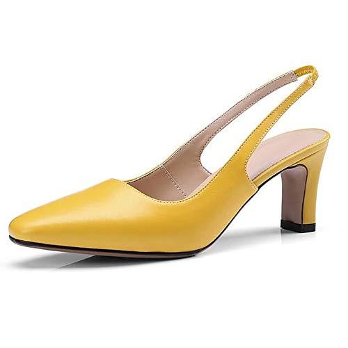 Beige Mujer Zapatos ZHZNVX Leather Pump Summer Yellow Stiletto Basic Heel de Nappa Black Tacones Beige A6cUqwR