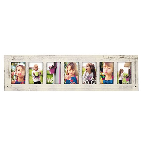 Vintage Collage Wood - DecentHome Rustic Wood Linear Collage Picture Frame, 7 Openings, 7-4x6, Distressed White