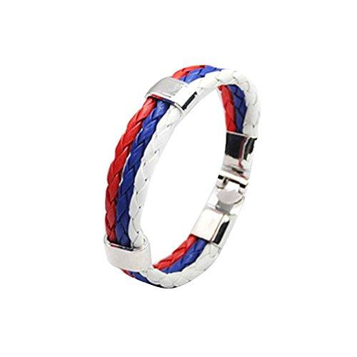 Fancy Bracelet Rope (Bobury Unisex World Cup National Flag Leather Multilayer Braided Bracelet 3 Strands Rope Bangles Men Women Handmade Wristband)