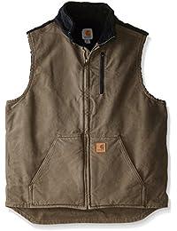 Men's Tall Sherpa-Lined Sandstone Mock-Neck Vest V33