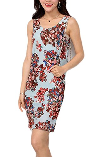 Print Bodycon Dresses 14 Neck Pattern Scoop Summer Slim Women Jaycargogo Fit Sleeveless xvfqwYnzAp