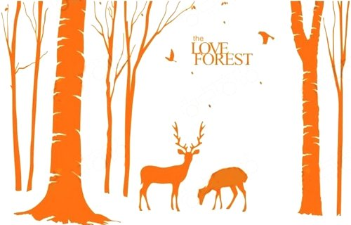 Aspire Giant Tree Decals, Deer In The Forest Giant Wall Mural, 9.3 Feet