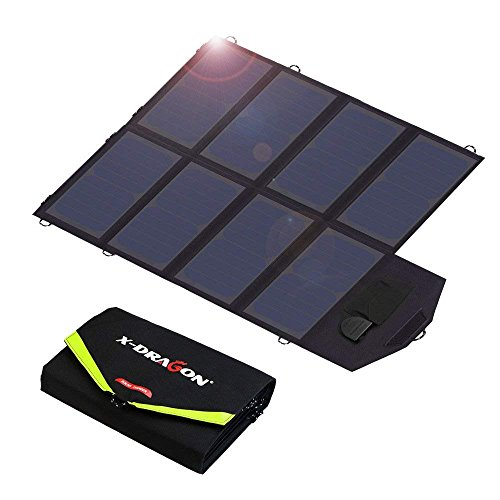 - X-DRAGON Solar Charger, 40W Solar Panel Charger (5V USB with SolarIQ + 18V DC) Water Resistant Laptop Charger Compatible Cellphone, Notebook, Tablet, Apple, iPhone, Samsung, Android, Camping, Outdoor