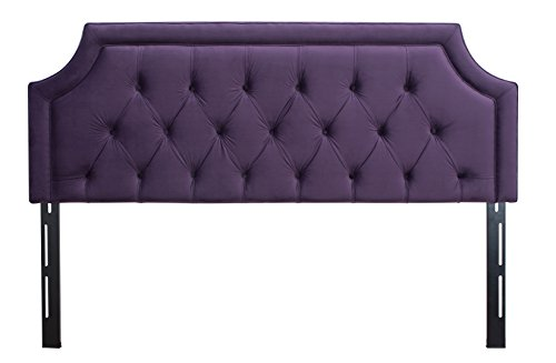 Jennifer Taylor Home Kaye Collection King Size Size Modern Adjustable Diamond Tufted Bed Headboard, King Size, Purple - Taylor Metal Bed