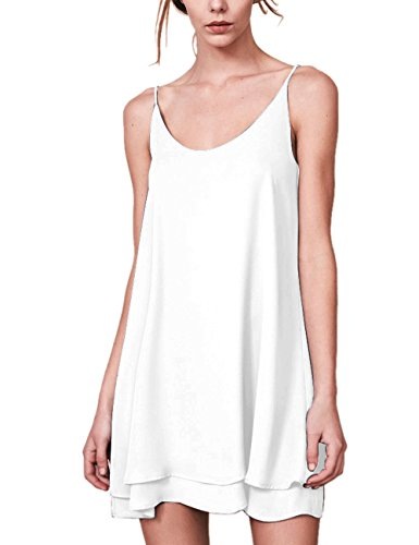Dohia Women's Summer Sleeveless Chiffon Tank Top Dress Casual Spaghetti Strap Beach Swing Slip Dresses Sundress C1811 (S, White) ()