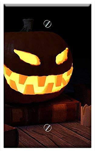 Single-Gang Blank Wall Plate Cover - Pumpkin Halloween Skull Scary Wallpaper
