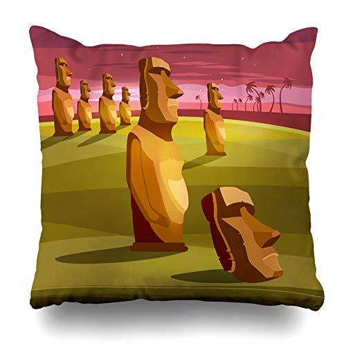 Ahawoso Throw Pillow Cover Adventure Island Stone Idols Tourism Vacation Tropical Ancient Easter Parks Moai Chile Polynesia Cushion Case Home Decor Design Square Size 16 x 16 Inches Pillowcase