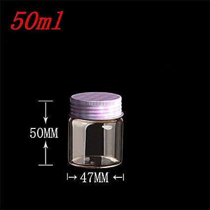 Generic 10 pcs 47 x 50 mm, pequeñas botellas de vidrio con tapón de rosca