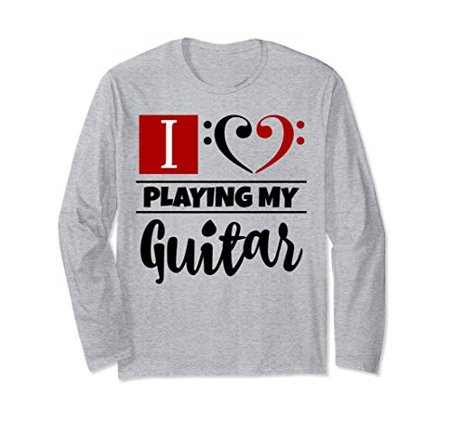 Double Black Red Bass Clef Heart I Love Playing My Guitar Unisex Long Sleeve Shirt