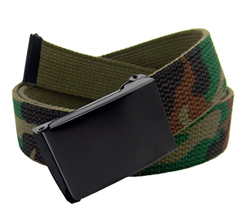 Boy's School Uniform Black Flip Top Military Belt Buckle with Canvas Web Belt Large Army Camo]()