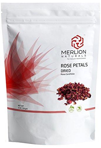 Dried Rose Petals ( Rosa Centifolia ) by MERLION NATURALS - 114 g / 4 OZ - 100% Natural | Vegan | Non GMO | Ideal for rose Tea and Potpourri