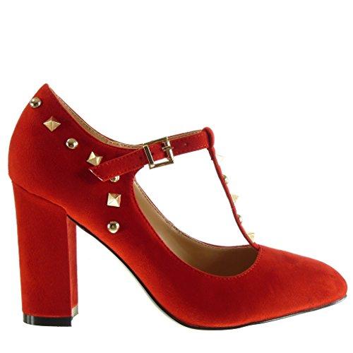 Femme Chaussure Haut Cm Boucle Mode Salomés Clouté Rouge Bloc Escarpin Decolleté Angkorly Talon 9 AXzdqwd