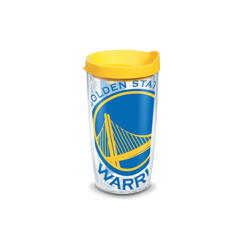 Nba Travel Mug - Tervis 1126910 NBA Golden State Warriors Colossal Tumbler with Wrap and Yellow Lid 16oz, Clear