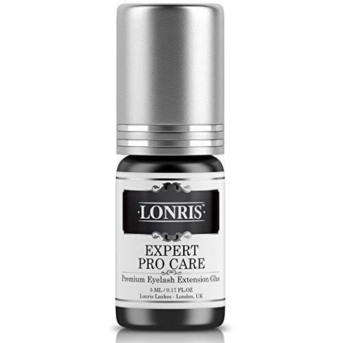 SENSITIVE LOW FUME Eyelash Extension Glue Lonris | Professional Advanced Individual Semi-Permanent Lash Adhesive Bond Supplies| 2-4 Seconds Dry Time | 5-6 Weeks Bonding | Long Retention | Black 5 ml