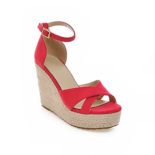 Polish Sandals High RoseRed Dull AmoonyFashion Womens Toe Solid Buckle Heels Open wqYptZ