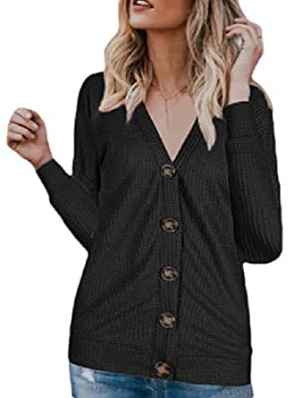 Womens Long-Sleeve V Neck Loose Waffle Knit Buttoned Cardigan Black L