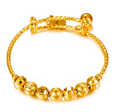 - Devastating Designs 24k Yellow Gold Baby's Kid's Small Adjustable Beaded Bangle Bracelet W/GiftPkg