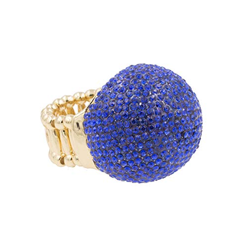 (Lavencious Snowball Rhinestone Cocktail Stretch Ring Party Ring for Women (Blue))