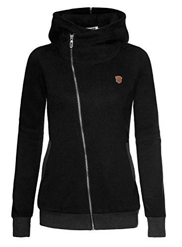 DJT Women's Oblique Full Zip-up Casual Hoodie Jacket Coat X-Large Black