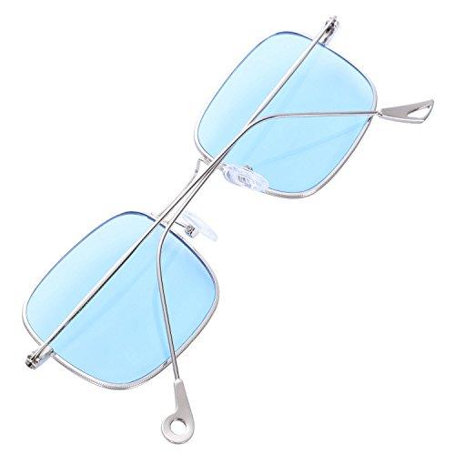 Retro Jaune Lunettes Bleu Sodial Teintees Femmes Cadre Soleil De Petit Vintage Carre nRw8wq74pF