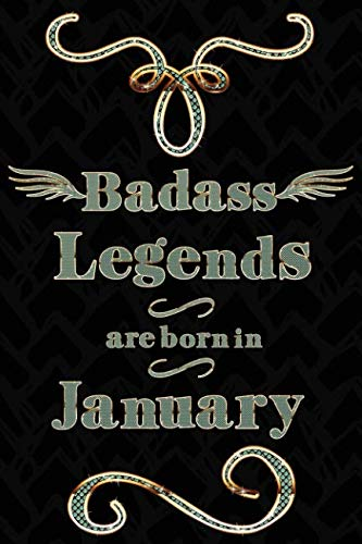 Badass Legends Are Born In January: Teal Gold Journal Line Ruled Mini Note Book For Jan -
