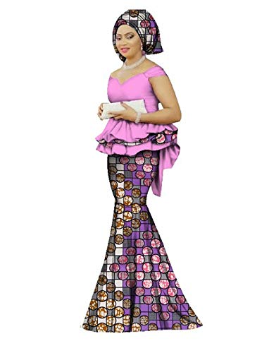 (Womens African Mermaid Skirt Set Peplum Tops & Headwrap & Long Skirt)