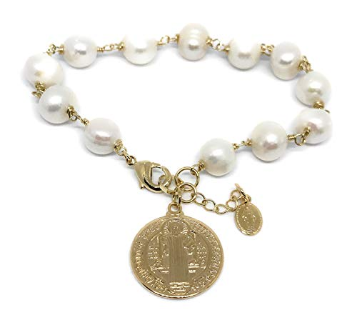 San Benito Medal Freshwater Cultured Pearls Bracelet Protection Jewelry