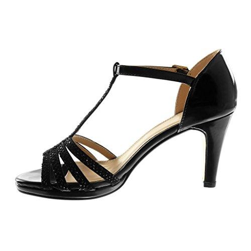 8 Sandale Multi Cm Stiletto Aiguille Noir Bride Verni Talon Femme 1BtTa