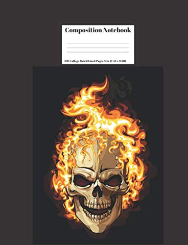 (Composition Notebook: Flaming Skulls Halloween Design 100 College Ruled Lined Pages Size (7.44 x)