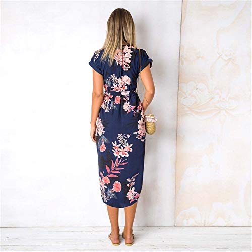 LitBud Womens Dresses Summer Casual Vintage Business Work Party Holiday Belted Shift Midi Tunic Dress for Ladies Blue Size 10 12 XL