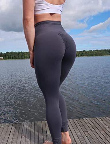 SEASUM Women Scrunch Butt Yoga Pants Leggings High Waist Waistband Workout Sport Fitness Gym Tights Push up L,Black,Large by SEASUM (Image #7)