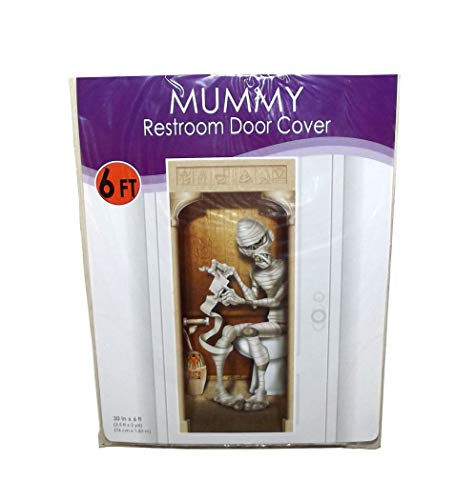Beistle Mummy Plastic Bathroom Door Cover Halloween Decor, 72 X 30 inches -