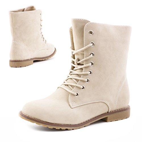 In Damen Stiefeletten Hochwertiger Und Boots Basic Worker Lederoptik Strass Reißverschluss Mit Beige Schnür SS8rqwp