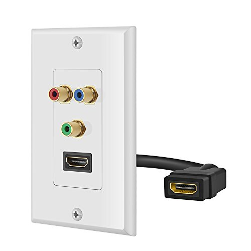 OBVIS HDMI + 3 RCA Wall Plate with Pigtail Back Plug
