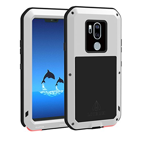 (LOVE MEI LG G7 ThinQ Case with Tempered Glass Screen Protector, [Powerful Series] Shockproof Dustproof Scratch Proof Hybrid Metal and Silicone Heavy Duty Defender Case for LG G7 ThinQ (Silver))