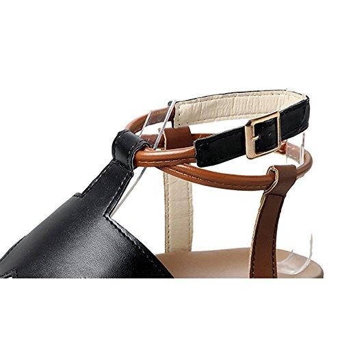 Bianca Sandali UK4 Scarpe nero EU36 Materiale Nero Colore PU e Donna CN36 Bianco Estate fondo spesso FEIFEI Semplice Opzionale dimensioni SxS6qC8wT