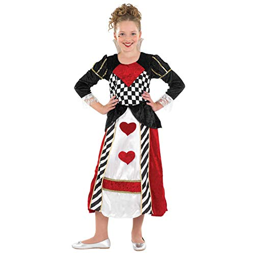 fun shack Girls Queen of Hearts Costume Kids Fairytale Gown Wonderland Dress - X-Large -