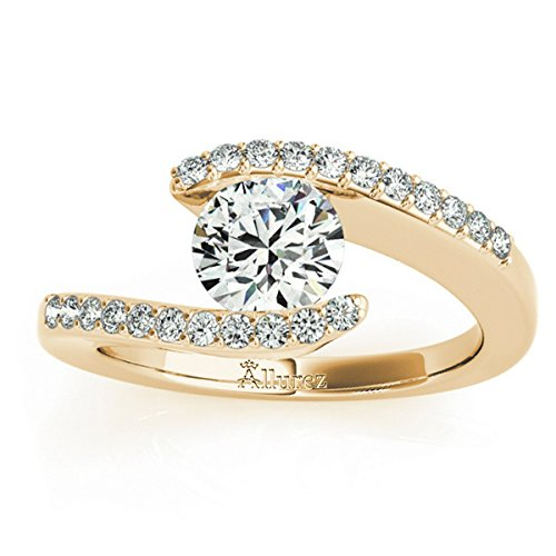 (Women's Diamond Accented Tension Set Engagement Ring 14k Yellow Gold (0.17ct))