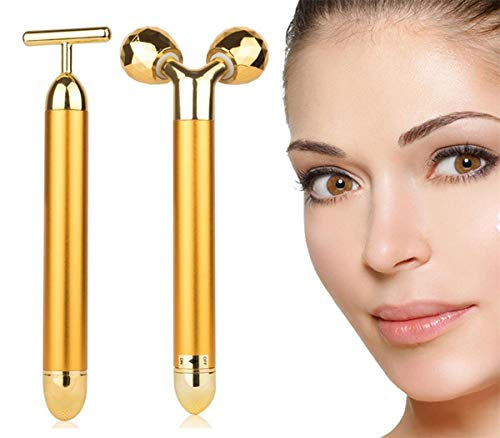 AMULISS 24k Gold Skin Care Face Massager 3D Roller Electric Sonic Depuffer Energy Beauty Bar Package Combination