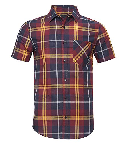 Button Down Plaid Sport Shirt - AVANZADA Men's Button Down Plaid Short Sleeve Work Casual Western Shirt