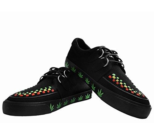 T.U.K. Shoes Männer Schwarze Leinwand Blatt Drucken VLK Schlingpflanze Sneaker Schwarz