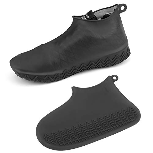 AOGUERBE Waterproof Silicone Boot and Shoe Covers, Reusable Rubber Shoe Protectors Men/Women Covers for Shoes Rain Silicone Protector for Outdoor/Indoor/Walking Non Slip Stretchable (Large, Black)