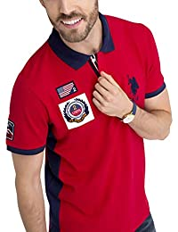 Mens USA Solid Pique Polo Shirt with Big Pony and Patches