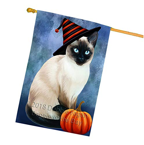 Doggie of the Day Happy Halloween Thai Cat Wearing Witch Hat with Pumpkin House Flag FLG55122