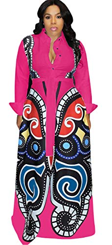 (Womens Sexy Long Sleeve Lapel Button Butterfly Printed Bodycon Party Clubwear Long Dress (S, Rose red))